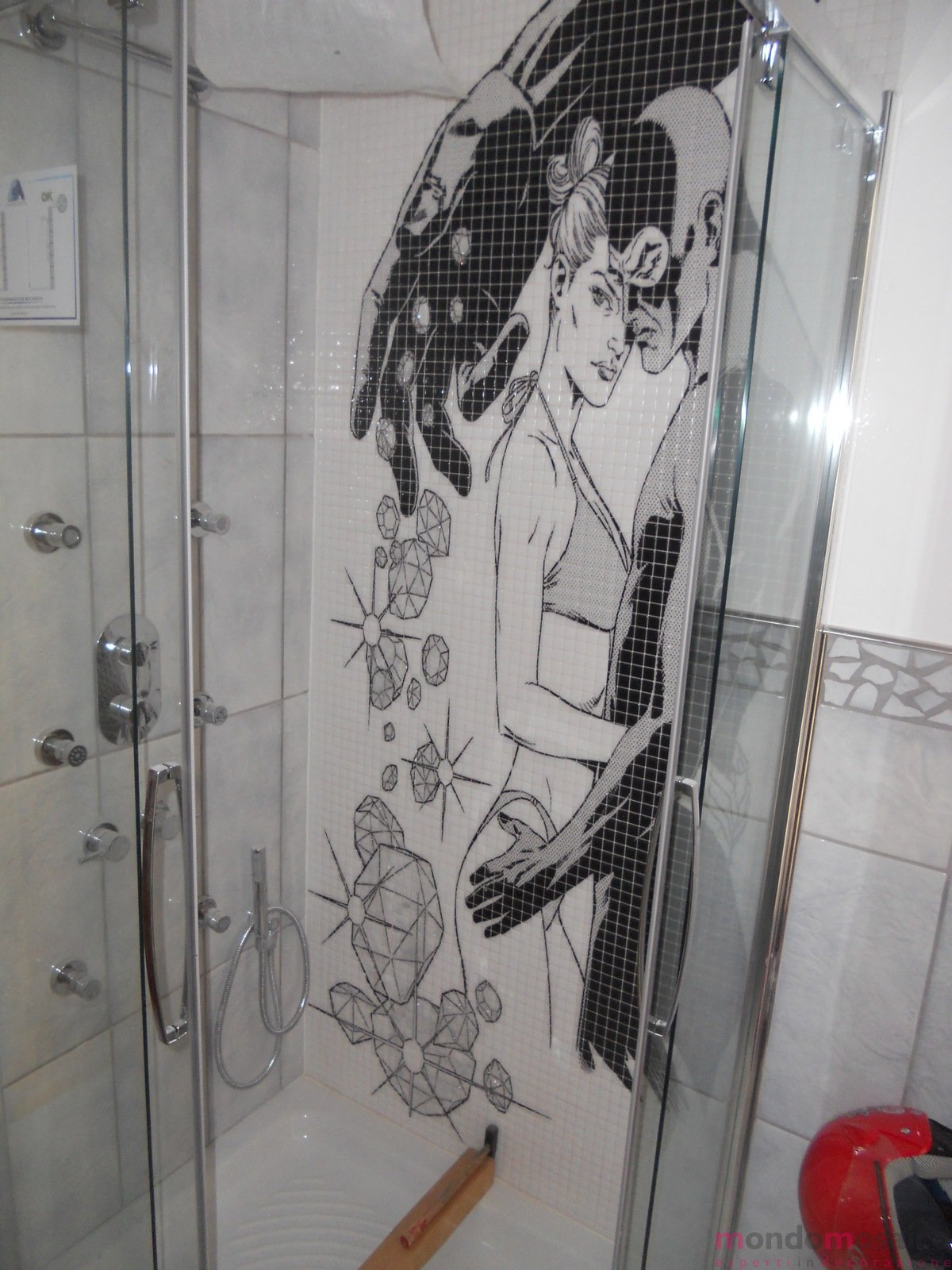 Diabolik & Eva in mosaico per doccia — Mondo Mosaico Italia