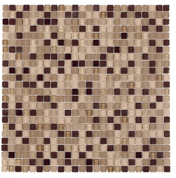 Micro mosaico in vetro colore crema marrone