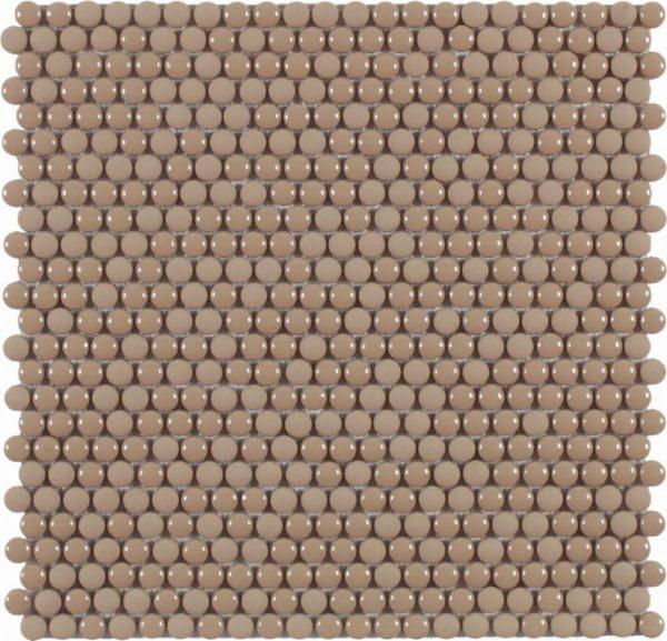 Micro mosaico in vetro riciclato tessere rotonde marrone lucido:opaco