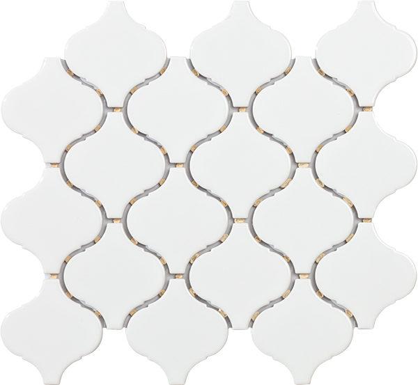 Mosaico Arabesque in porcellana bianco