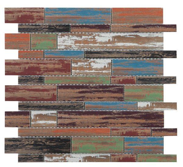 Mosaico a listelli in vetro effetto muretto antico vintage