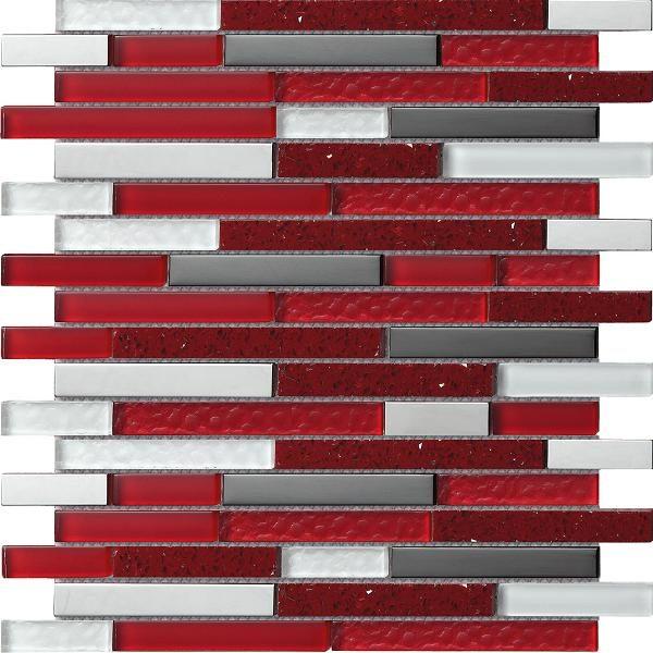 Mosaico a listelli varie misure in vetro e quarzo red