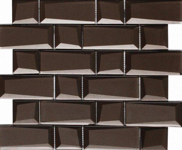 Mosaico a tessere rettangolari grandi effetto 3D marrone caffè