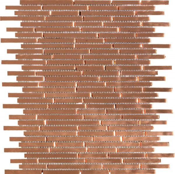 Mosaico a tessere rettangolari sottili a specchio anticato rame