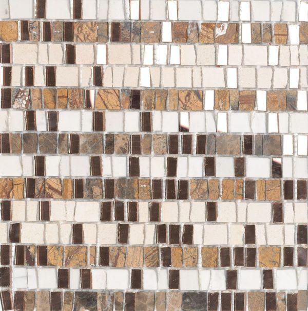 Mosaico artigianale in marmo e pezzi di vetro specchio