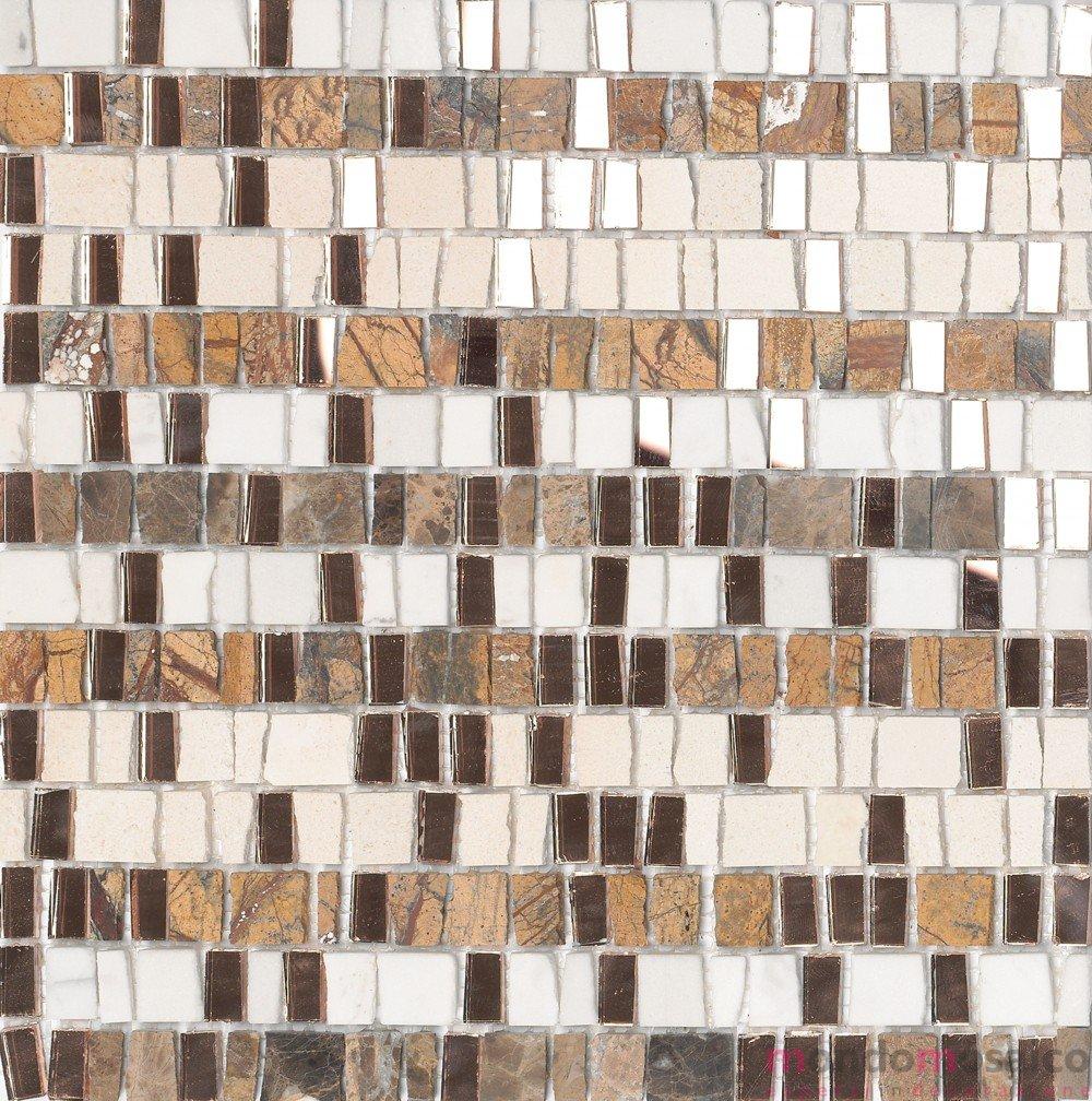 Il Mosaico E Gli Specchi.Mosaico In Marmo E Pezzi Di Vetro Specchio Marrone Bianco