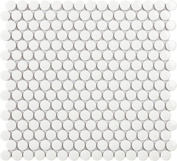 Mosaico bolle in porcellana smaltata bianco lucido