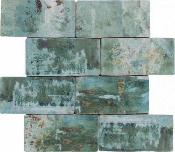 Mosaico ceramica effetto verde consumato