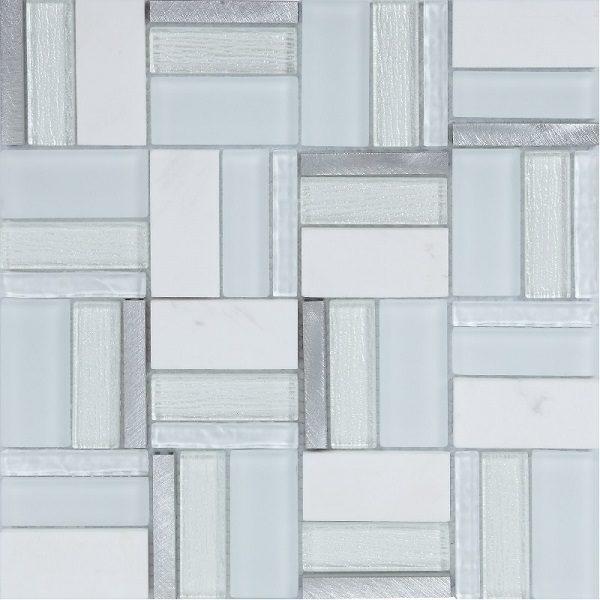 Mosaico con tessere multi forme in vetro e marmo lucido bianco