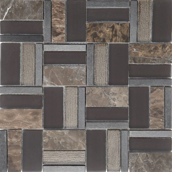 Mosaico con tessere multi forme in vetro e marmo lucido marrone
