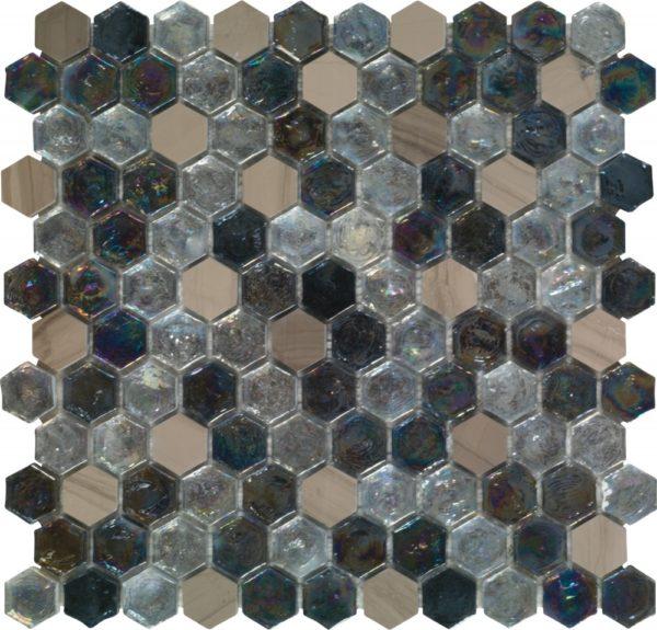Mosaico esagonale in vetro iridescente e pietra