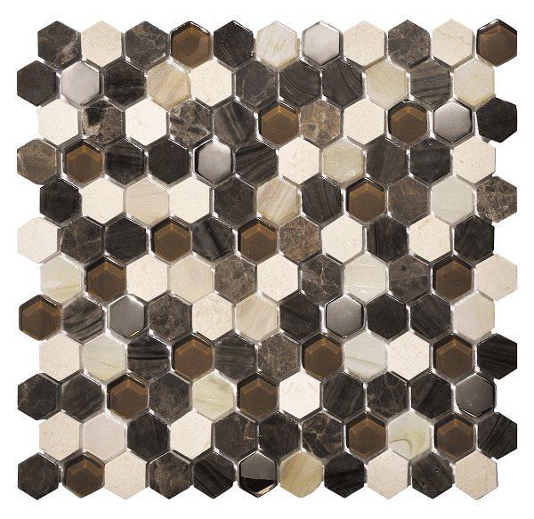 Mosaico esagonale in vetro metallo e pietra marrone mix