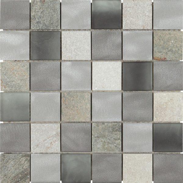 Mosaico fusion acciaio vetro e pietra grey