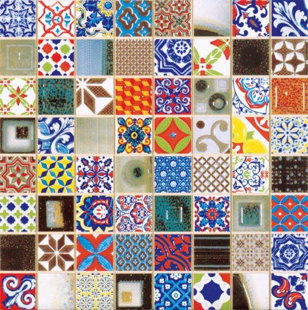 Mosaico in ceramica include piastrelle di ogni paese, comprese idrauliche