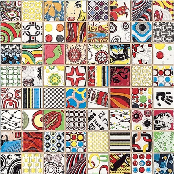 Mosaico in ceramica stile pop art64 quadrati ognuno con fumetto diverso