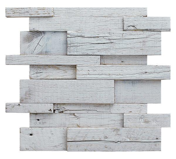 Mosaico in legno ad incastro bianco