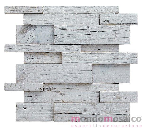 Mosaico in legno a incastro bianco — Mondo Mosaico Italia