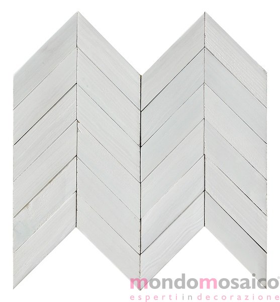 Mosaico in legno bianco a spina di pesce