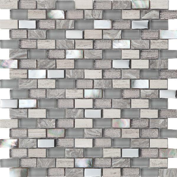 Mosaico in mardre perla pietra e vetro con tessere grettangolari piccole grigio