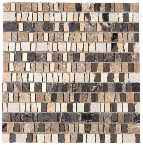 Mosaico in marmo e pezzi di vetro specchio marrone scuro