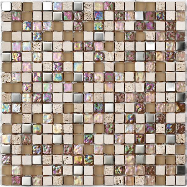 Mosaico in marmo e vetro con tessere piccole color crema