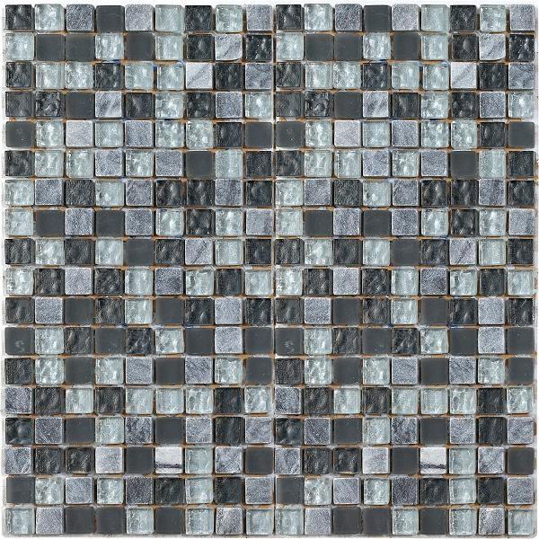 Mosaico in marmo e vetro con tessere piccole grigio