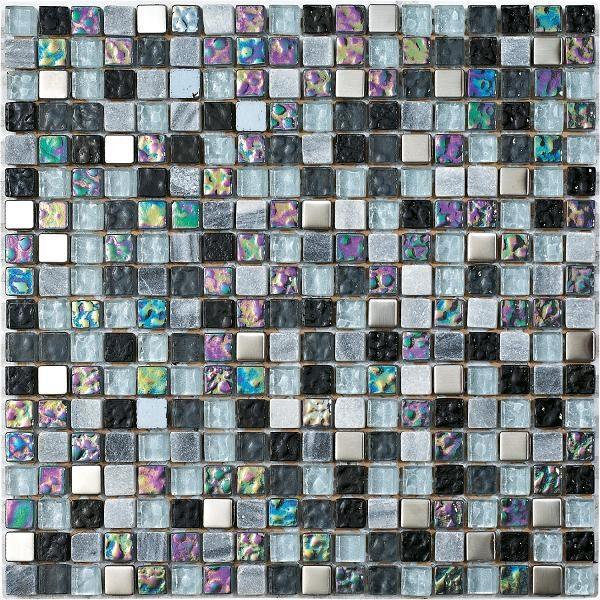 Mosaico in marmo e vetro con tessere piccole grigio-argento-viola