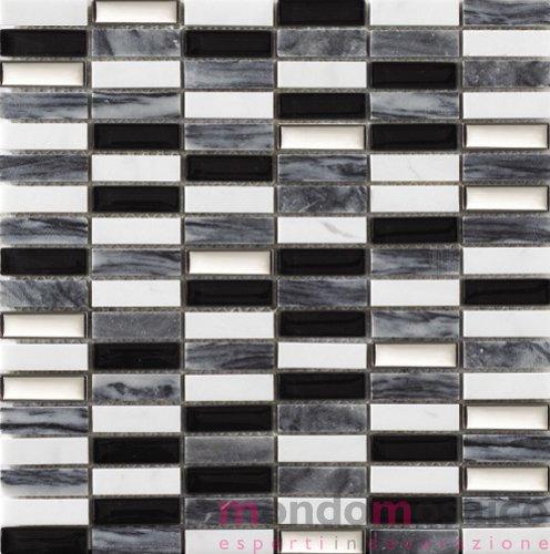 Mosaico in marmo lucido e vetro grigio