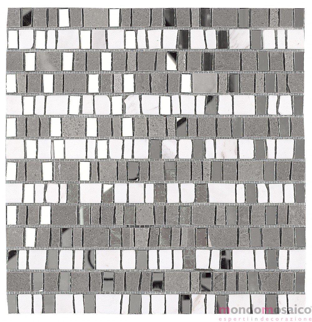 Il Mosaico E Gli Specchi.Mosaico In Pietra E Pezzi Di Specchi Grigio
