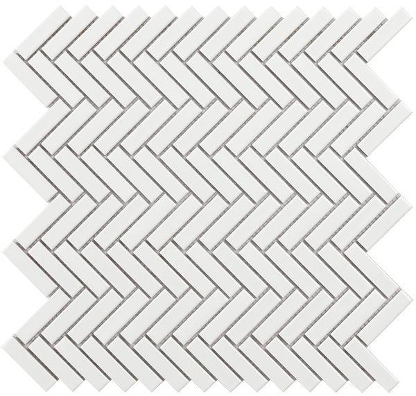 Mosaico in porcellana formato Tech bianco lucido