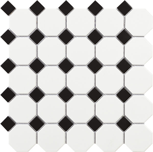 Mosaico in porcellana ottagonali bianco con tozzetti neri