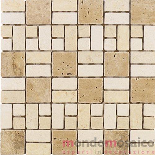 Mosaico in travertino con tessete multi formato