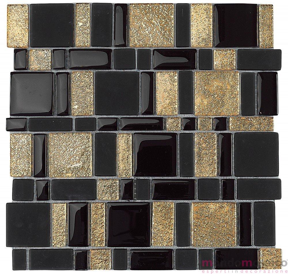 Mosaico In Vetro Con Rettangoli Nero Oro Mondo Mosaico Italia