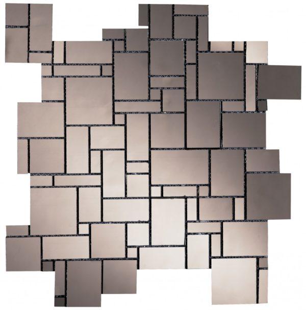 Mosaico in vetro con tessere di varie forme effetto specchio grigio