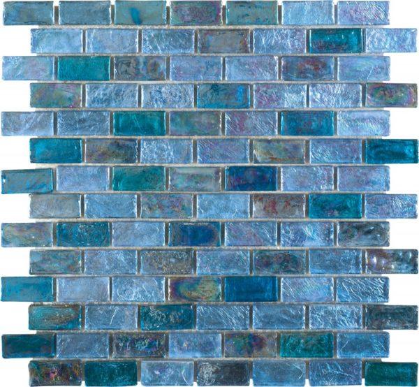 Mosaico in vetro con tessere rettangolari iridescente multicolor azzurro:blu jpg