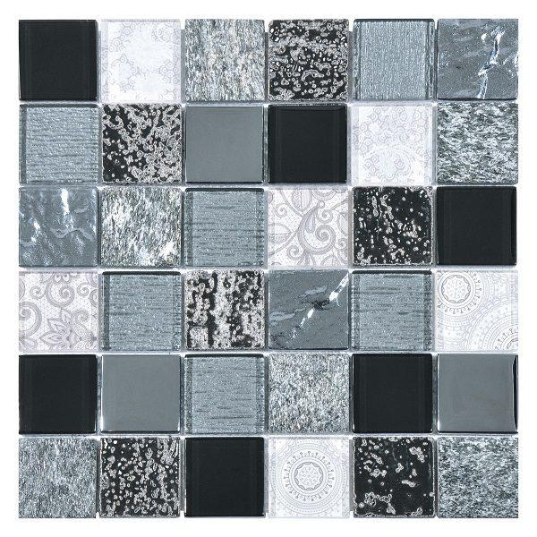 Mosaico in vetro e marmo grigio