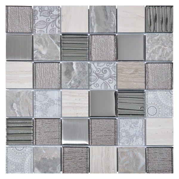Mosaico in vetro e marmo grigio chiaro
