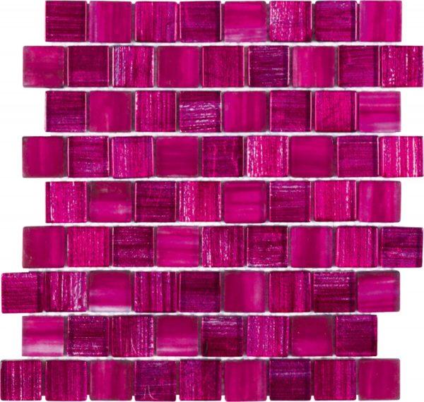 Mosaico in vetro effetto spennellatura con colori freschi e moderni rosa