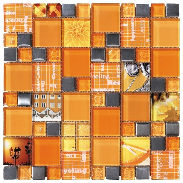 Mosaico in vetro lucido mix arancio