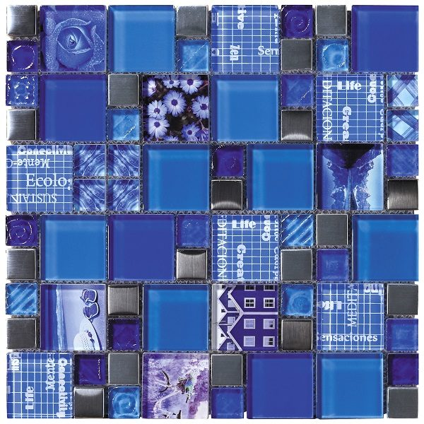 Mosaico in vetro lucido mix blU