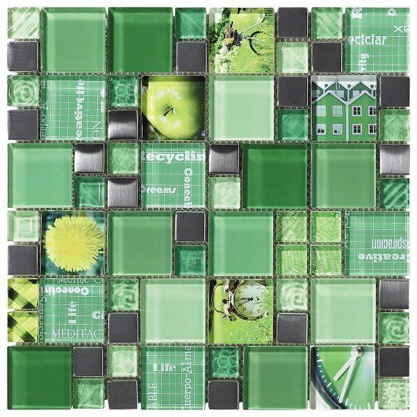 Mosaico in vetro lucido mix verde