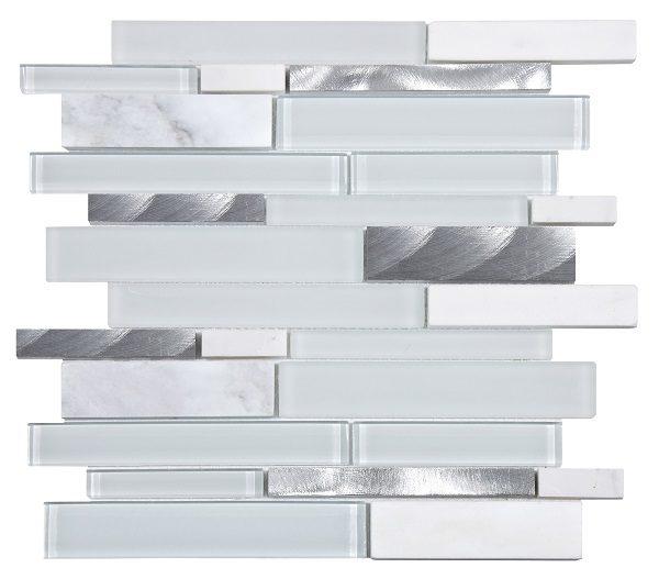Mosaico in vetro metallo e marmo a listelli multiforme bianco