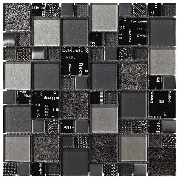 Mosaico in vetro mix grigio-argento