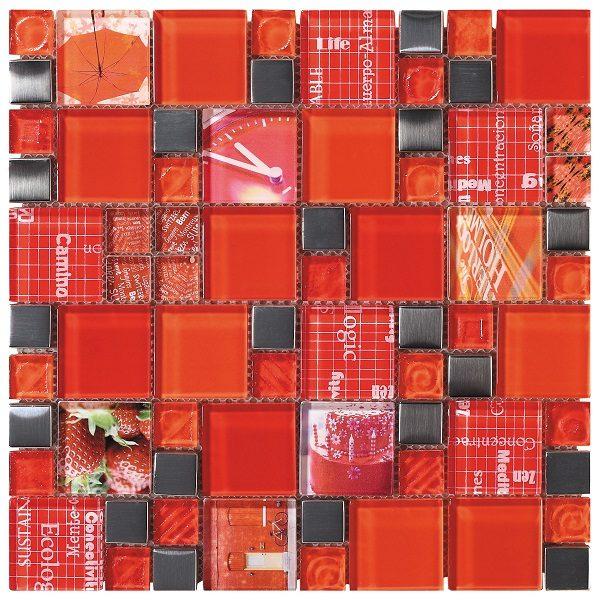 Mosaico in vetro mix rosso