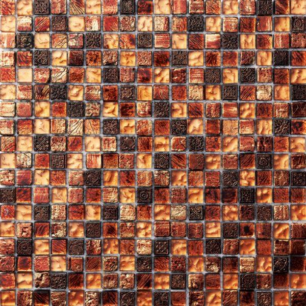 Mosaico in vetro pietra color rame anticato