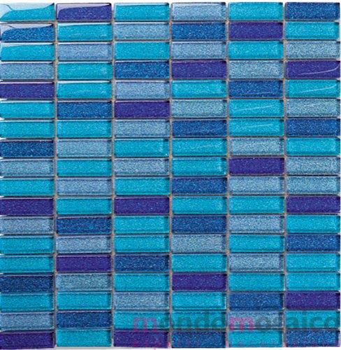 Mosaico in vetro rettangolare su rete azzurro