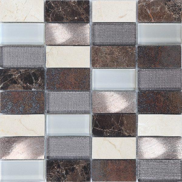 Mosaico in vetro travertino e porcellana marrone mixato