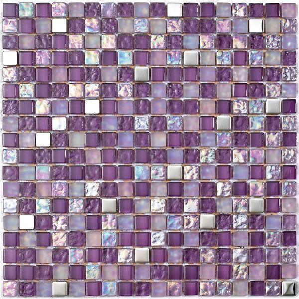 Mosaico in vetroe metallo con tessere piccole color lilla