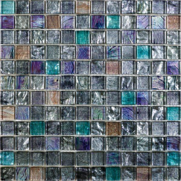 Mosaico invetro multicolor in grigio argento