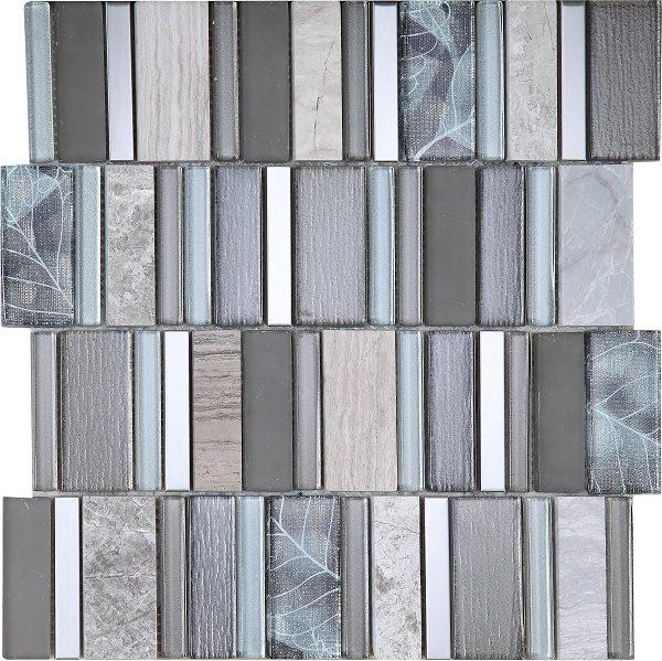 Mosaico modello greca in vetro e metallo grigio